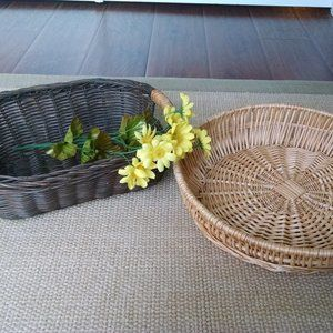 Two Vintage  Farmhouse Wicker Baskets